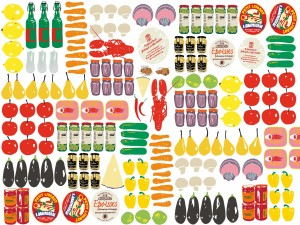 Alimentos ordenados en una imagen