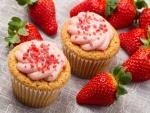 Cupcakes con crema de fresa