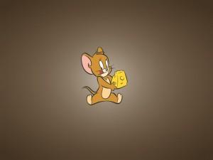 Jerry feliz con un pedazo de queso