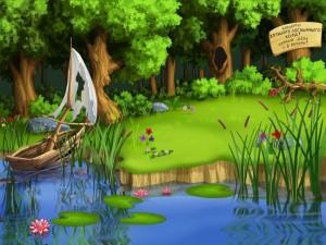 Orilla de río en un bosque de fantasía