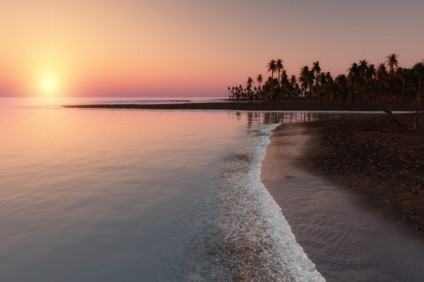 Hermoso amanecer en una playa tropical