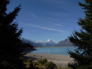 Postal: Monte Cook visto desde el lago Tekapo, Nueva Zelanda