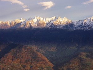 Primeras nieves en la sierra de Belledonne, Francia