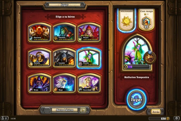 Comenzando una partida con Malfurion (Hearthstone: Heroes of Warcraft)