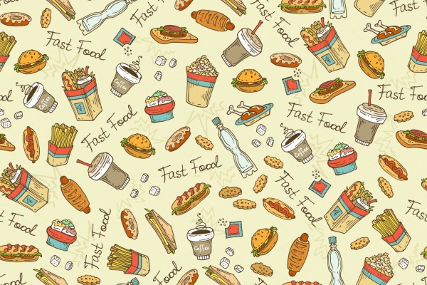 Imagen con varios alimentos de fast food