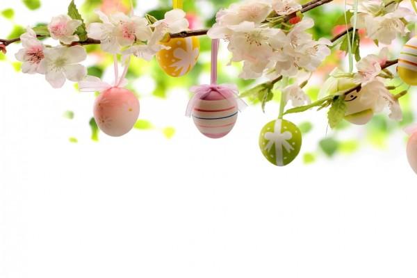 Huevos de Pascua colgados de una rama con flores