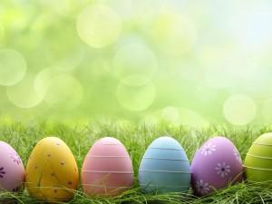 Postal: Decorativos huevos de Pascua sobre la hierba