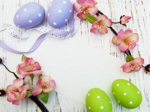 Hermosas flores, huevos y una carta para Pascua