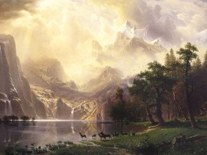 Entre las montañas de Sierra Nevada, California (pintura de Albert Bierstadt)