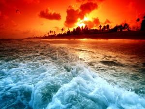 Postal: Atardecer rojizo sobre una playa
