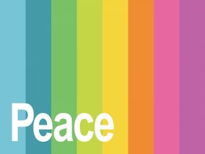 Postal: Paz sobre un fondo de colores
