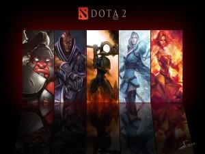 Postal: Cinco héroes de Dota 2