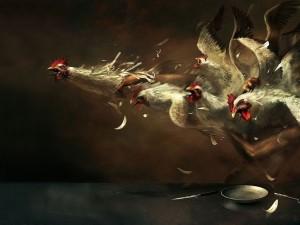 Hombre agarrando gallinas (ilustración surrealista de Ryohei Hase)