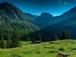 Postal: Rayo de luz en un valle
