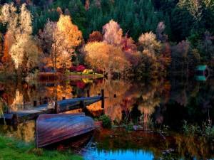 Otoño reflejado en un lago