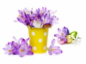 Delicadas flores y huevos de Pascua