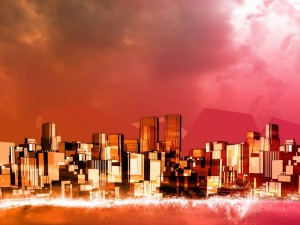Edificios de una ciudad con distintas formas geométricas