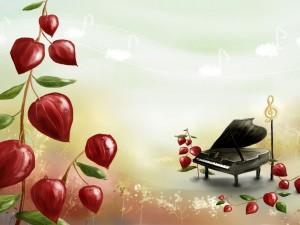 Piano junto a una clave de sol rodeados de plantas con bellas hojas