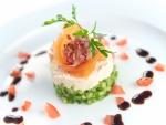 Un primer plato con salmón ahumado