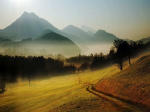Niebla sobre el campo y las montañas