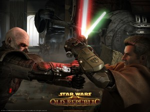 "Lucha entre dos personajes de ""Star Wars: The Old Republic"""