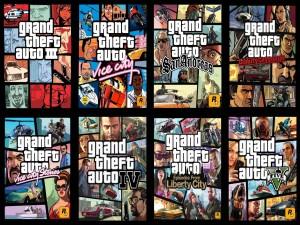 "Imagen con ocho sagas de ""Grand Theft Auto"""