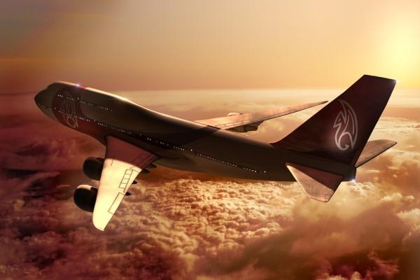 Un Boeing 747 volando sobre las nubes