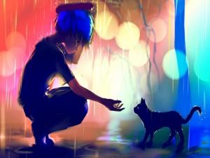 Un chico anime junto a un gato