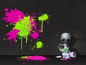 Un robot artista pintando una pared