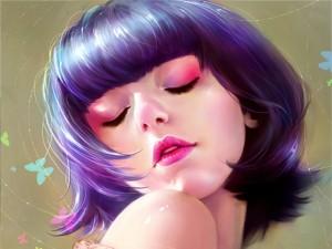 Chica coqueta con el pelo azulado