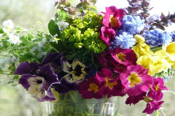 Ramo de flores silvestres en un vaso