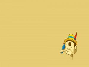 Un pájaro posado en la nariz de Pinocho