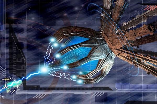 Dispositivo gigante disparando rayos láser