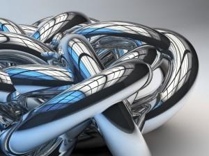 Tubos de metal con uniones muy complejas