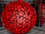 Una esfera de color rojo formada por triángulos