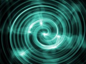 Espiral formada por líneas brillantes