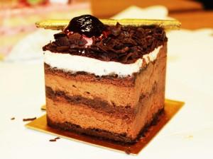 Pastel cuadrado de chocolate