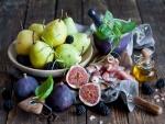 Brevas, jamón y aceite