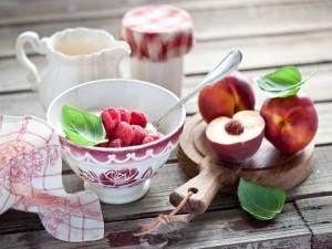 Frambuesas con yogur