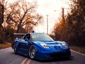 Acura NSX de color azul en medio de una carretera