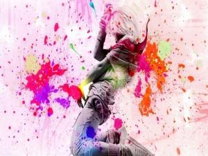 Chica danzando en una imagen con manchas de colores