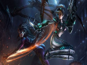 Kerrigan luchando contra Nova (StarCraft II)