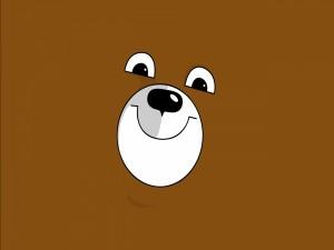 La cara de un divertido oso