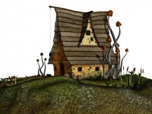 Setas creciendo junto a una linda casita