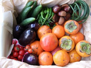Caquis, castañas y vegetales