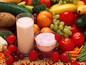 Batido y yogur de frutas y vegetales