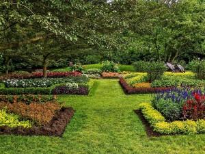 Sensacional jardín con flores y árboles