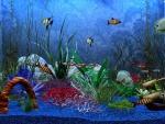 Peces coloridos en un acuario 3D