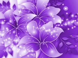 Grandes y brillantes flores color púrpura