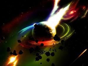 Planeta proyectando una potente ráfaga de luz